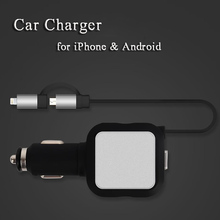 Brand New Car Charger for iPhone 7 Plus 2 USB Charging Cable for iPhone 6 6S Phone Charger Retractable Wire for Samsung Android(China (Mainland))