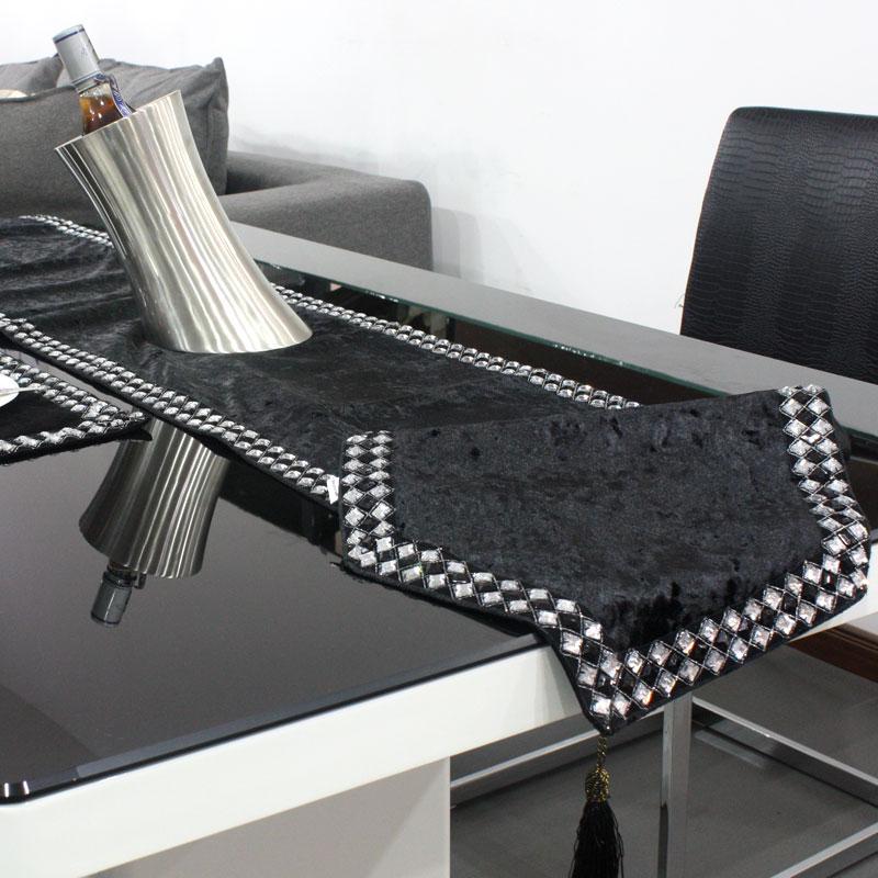 Luxury Home Decor Velvet Black And White Diamond Buckle Brief Modern Coffee Table Runner Tv