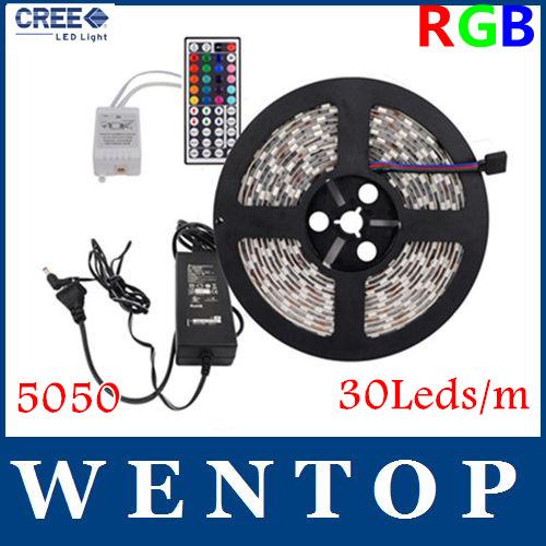 5M SMD 5050 150Leds RGB LED Strips and 44 Key IR Remote Control and 12V 3A Power Supply US/EU/UK/AU Warm white Yellow 30Leds/m(China (Mainland))