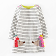 Autumn baby girls dresses,2-7 yrs applique embroidery long-sleeved girls dress,cotton kids casual clothes,2015 children clothing
