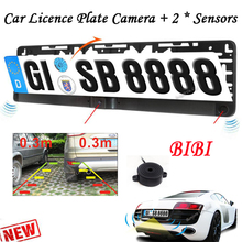 Buy HD CCD EU European Car License Rear View Camera Front View Camera License Plate Frame Parking Camera Two Parking Sensors for $31.88 in AliExpress store