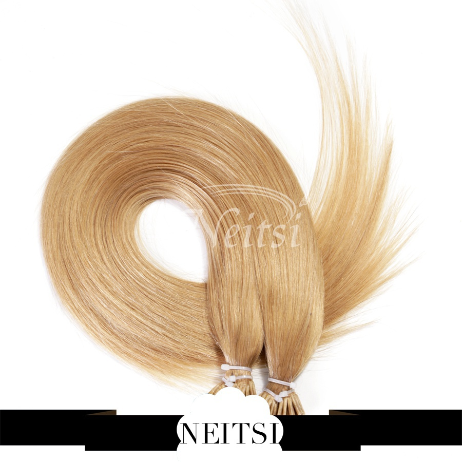 """Neitsi Remy Hair Straight Extensions Keratin Stick I Tip Hair 20"""" 1g/s 25s/pack 27# Blonde Pre Bonded Natural Hair Extensions(China (Mainland))"""