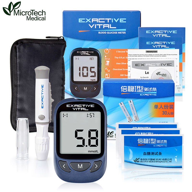 MICROTECH MEDICAL Diabetes Diabetic Blood Sugar Detection Blood Glucose Meter Glucometer Medidor de Glicemia 100 Strips +Needles