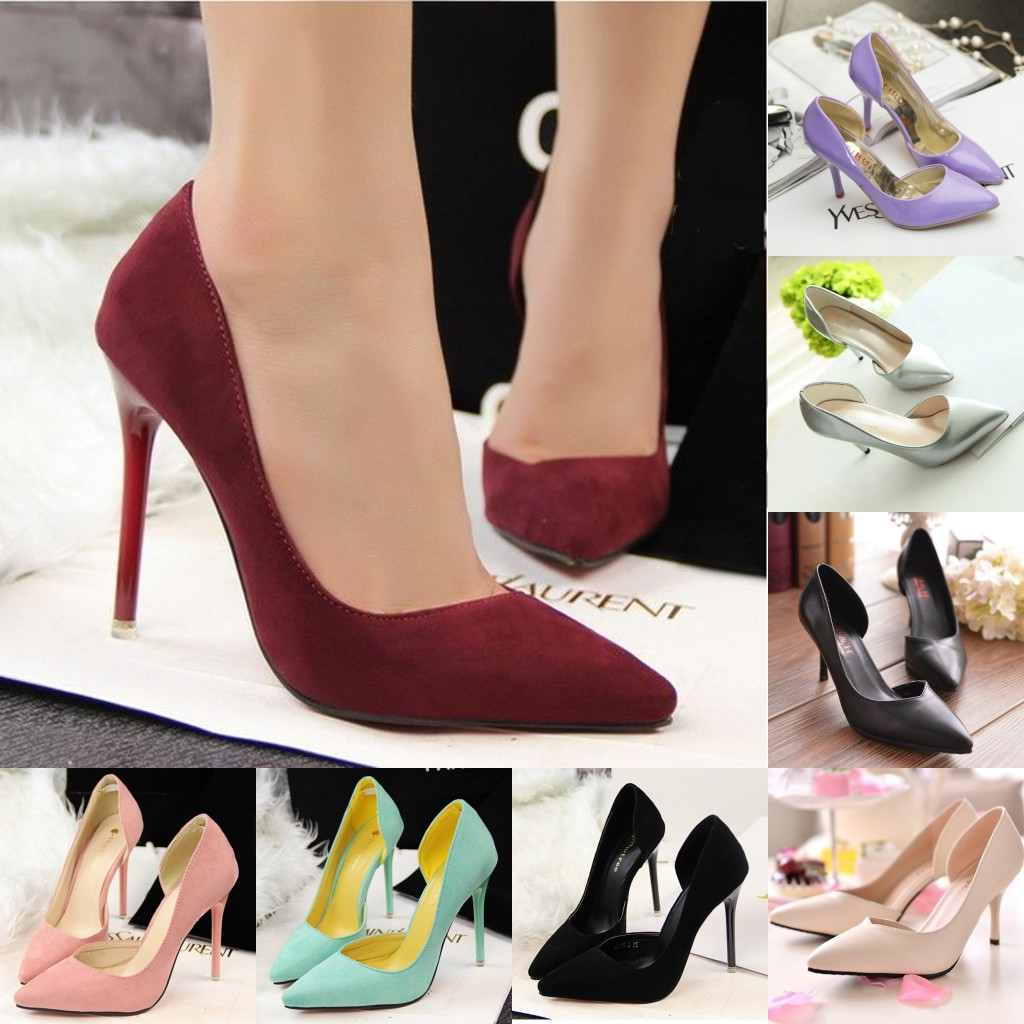 SMYPDX-0017 Free Shipping Cheap Female Shoes Women High Heels Black White Thick Heel Pumps Zapatos De Mujer Tallas Grandes(China (Mainland))