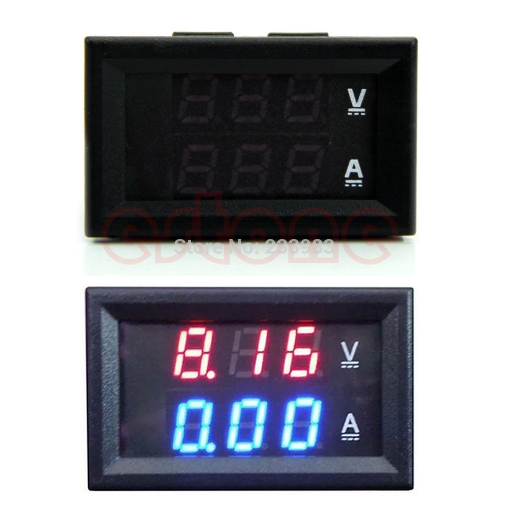 M65 Free Shipping DC 100V 10A Voltmeter Ammeter Blue + Red LED Amp Dual Digital Volt Meter Gauge(China (Mainland))