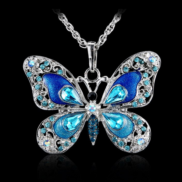 Beautiful Rhinestone Butterfly Long Necklaces Sweater Necklaces Fashion Necklace For Women Necklace Pendants Silver Jewelry(China (Mainland))