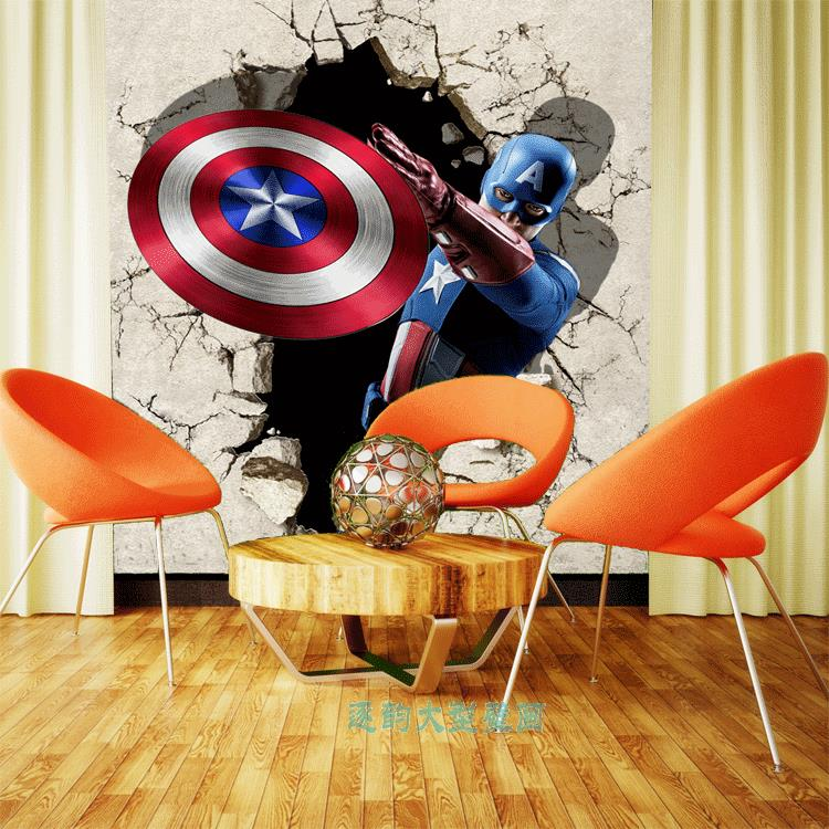 Large mural 3D wallpaper Movie Wallpaper Movie Wallpaper diffuse threat alliance United States captain background wall custom(China (Mainland))