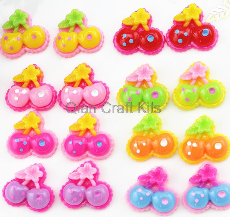 Set of 100pcs mixed color polka dot cherry resin cabochons 20x19x5mm Cell phone decor hair accessory