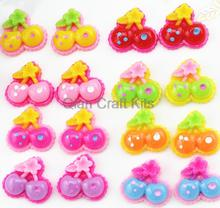 Set of 100pcs mixed color polka dot cherry resin cabochons (20x19x5mm) Cell phone decor, hair accessory DIY sz0655