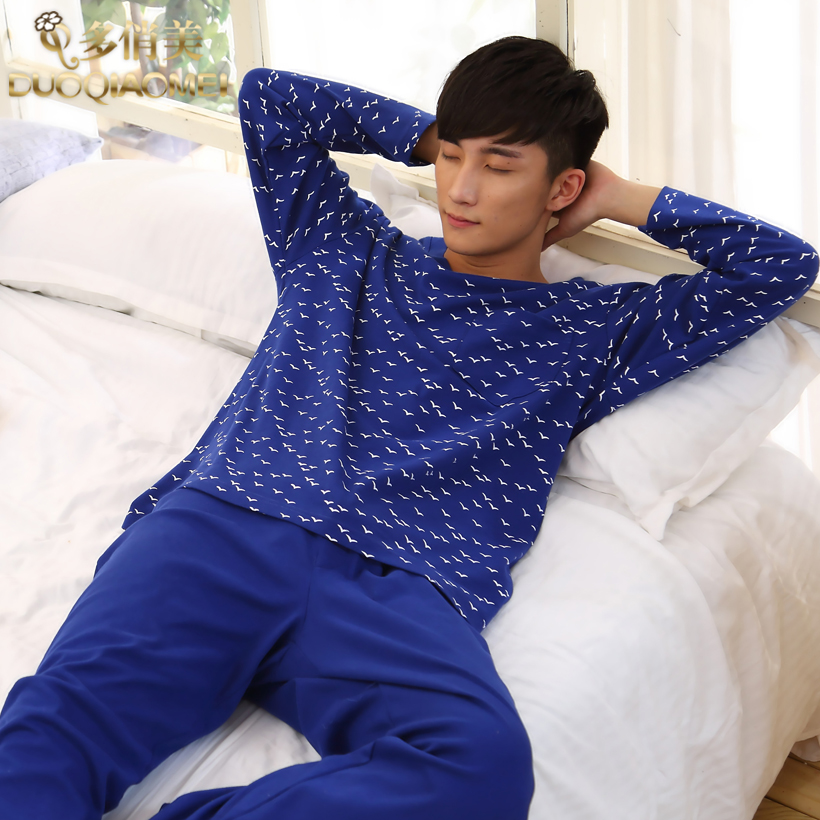 People casual lounge 100% cotton brief set V-neck pullover long-sleeve male sleepwear spring autumn - LL fashion show store