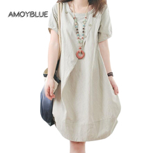 Buy Amoyblue Linen Dresses Women Short Sleeve Summer Red/black/apricot/army Green/blue O-Neck Loose Ladies Ruffle Linen Dress Sale for $13.29 in AliExpress store