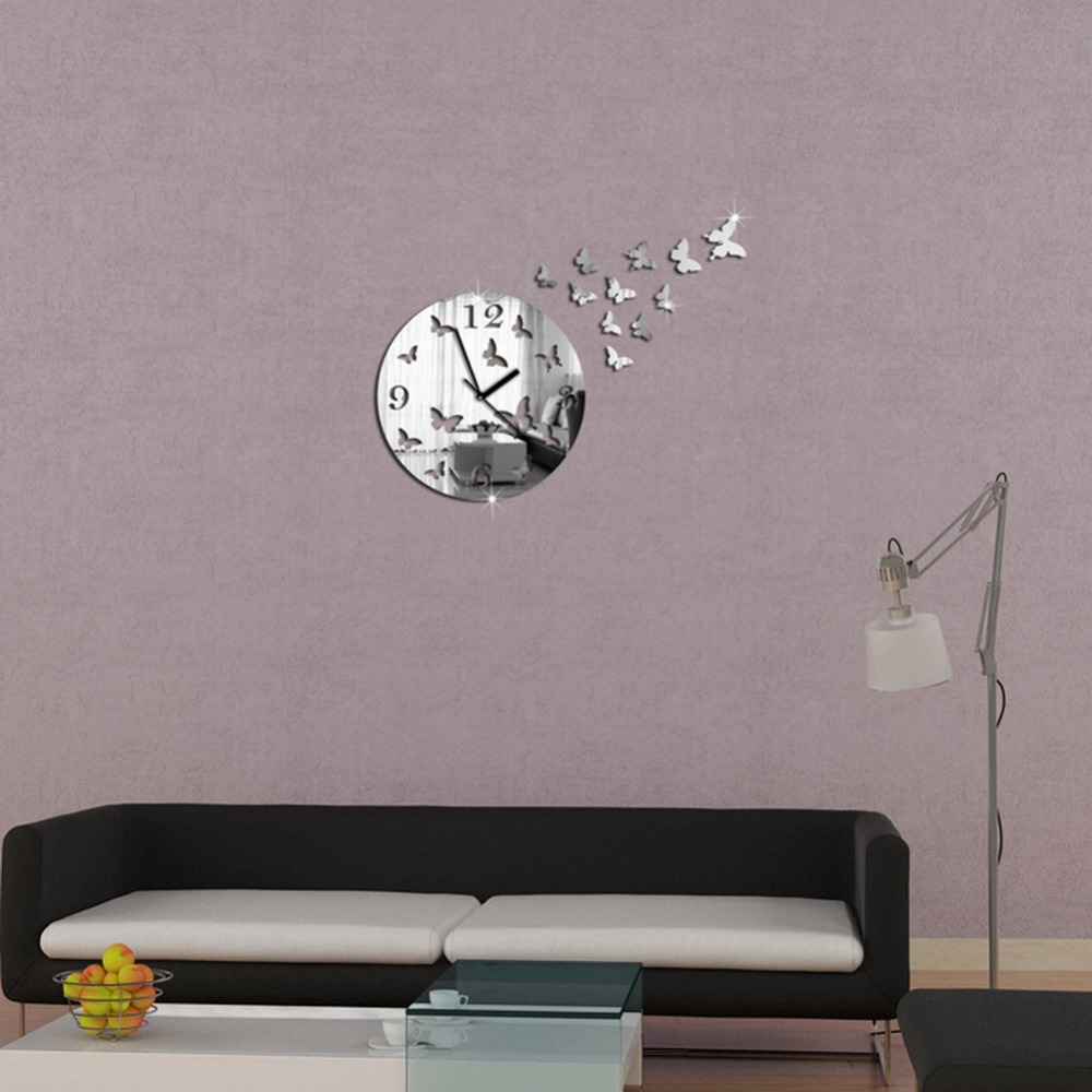New Creative Butterfly Figure Promotion Luxury Diy 3d Mirror Wall Clock Watch Modern Large Decor(China (Mainland))