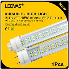 LEDVAS 1Pcs 18W T8 Tube Lights AC85-265V 600mm 2ft Led SMD2835 Superior quality LED fluorescent lamp Warm White Cool White#15-1(China (Mainland))