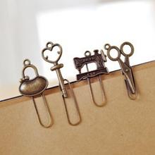 2 pcs/lot (1 bag) Mini Vintage Retro Metal Bookmarks Clip for Book Gifts Cute Kawai Korean Stationery Free shipping 429(China (Mainland))