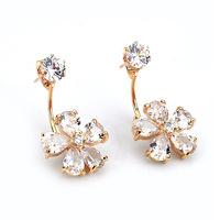 Gift To Girlfriend Korean Lucky Clover Flower Zircon Earrings Fashionable Gold Double Sided Earring Women Crystal Stud Earrings