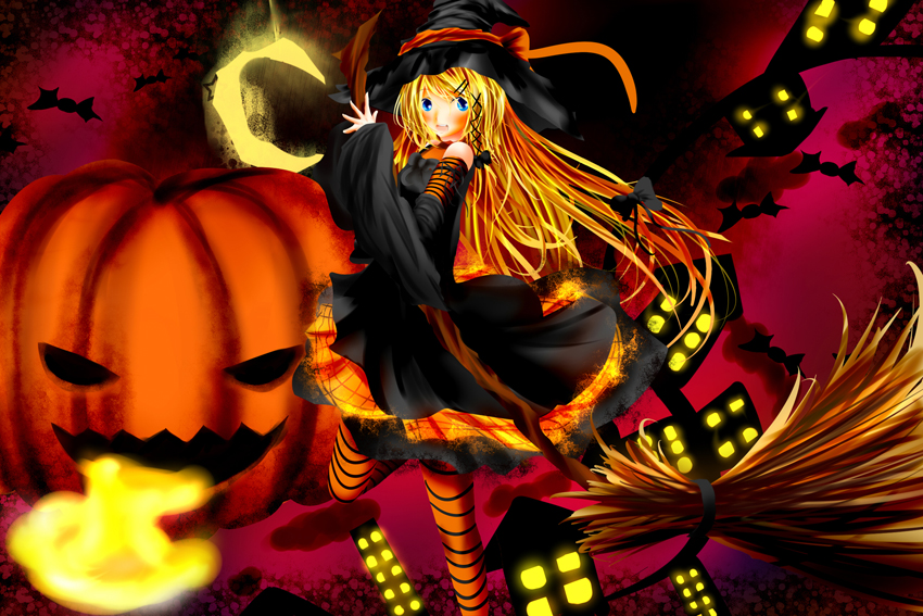 Witch, Pumpkin, broom, Halloween anime Poster High quality picture Print Home Decoration Cloth Silk wall Art(China (Mainland))