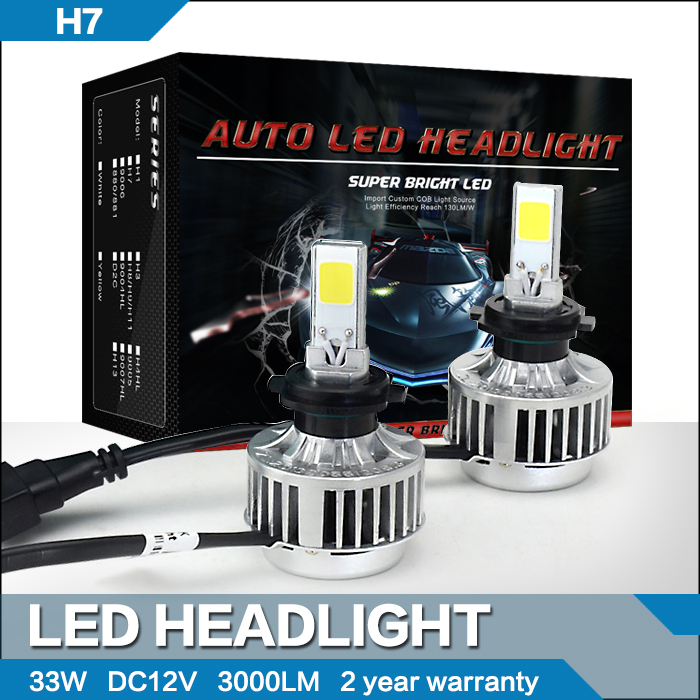 All In One No Ballast 33W H7 LED Headlight Conversion Kit Car Driving Fog Lamp 3000LM Cree COB Chips White Free Shipping(China (Mainland))