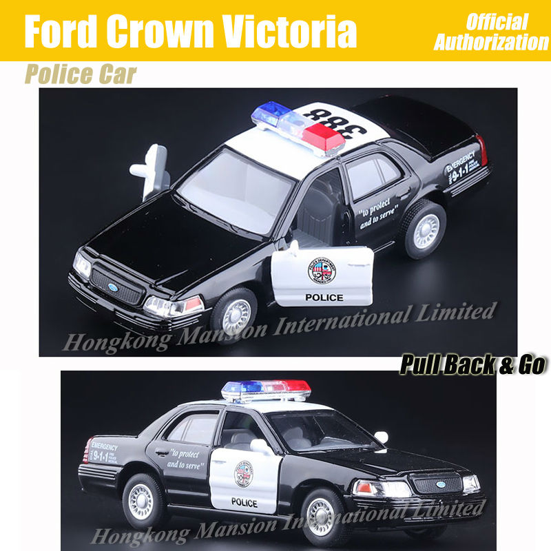1:36 Scale Alloy Metal Diecast ForPolice Car Model For Ford Crown Victoria Collection Model Pull Back Toys Car - Black(China (Mainland))