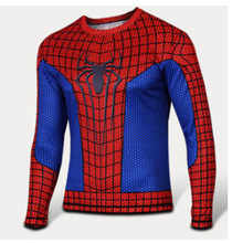 Hot!2016 high quality superhero spider-man superman batman long sleeve shirt, T-shirt, the more you buy, the more benefits.