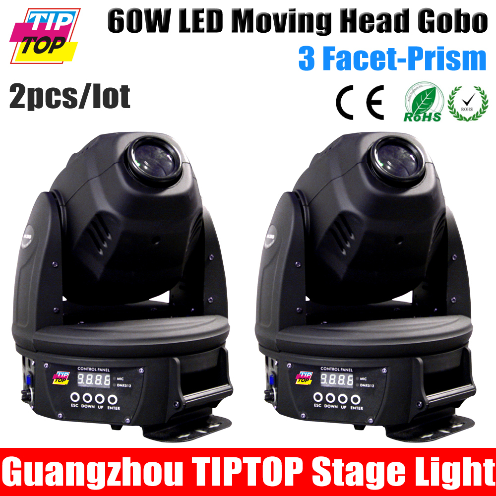 2Pcs/Lot Free Shipping Discount Price Prism 60W Led Moving Head Spot Light,DMX512,12CH,1Color Plate,1 Gobo Plate Led Stage Light<br>