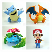 Anime PokemoneINGlys Ash Ketchum Charizard Blastoise Venusaur PVC Action Figure Brinquedos Figures Collectible Model Toys(China (Mainland))