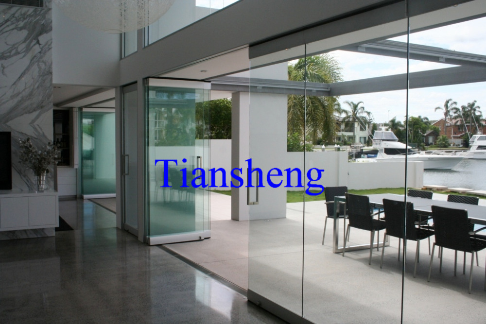 Frameless Sliding Folding Glass Door Double Pane Sliding