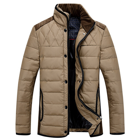 2015 New Fashion Men Winter Warm Thick Down Jacket Parka Coat Fashion Patchwork Jackets Stand Collar Down Coats 13M0204