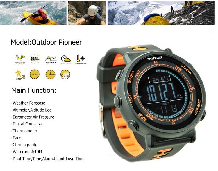 Sportstar открытый пионером смарт-наручные часы с цифровой компас, Высотомер, Барометр, Термометр, Прогноз forecase