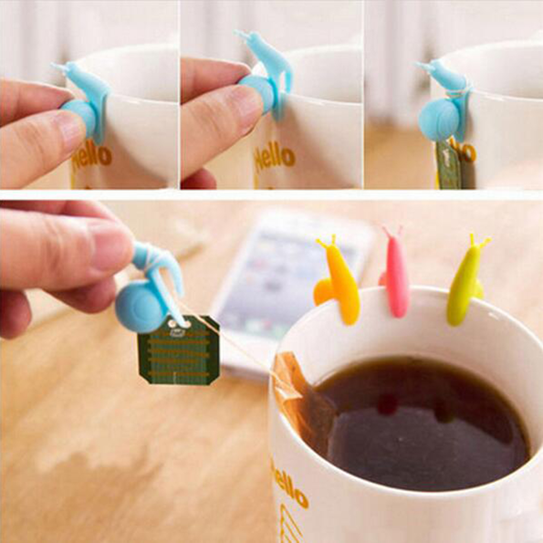 5Pcs Tea Bag Holder Cute Snail Shaped Silicone Cup Mug Hanging Tool Gift Set Random Color coffee cup holder(China (Mainland))