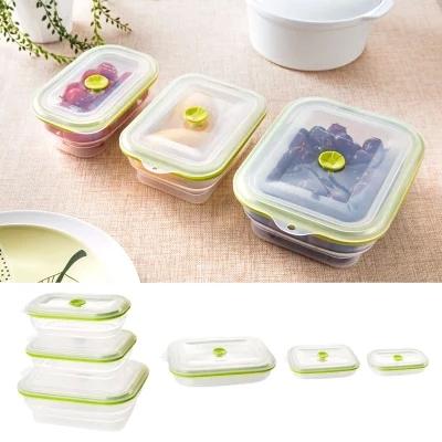 Import nanoscale foldable silicone crisper, refrigerator box microwave lunch box sealed box 800ml(China (Mainland))