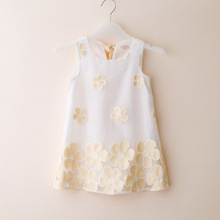 2016 Girls new summer fashion street style dress children's clothing baby girl A-line Flower petals Lace Organza vest dress