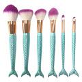6pcs Mermaid Fishtail Makeup Brushes Set Cosmetics Foundation Blush Eyeshadow Face Powder Brush Beauty Make Up