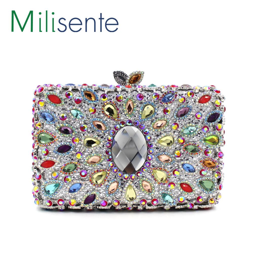 Здесь можно купить  Milisente 2015 Top Sale Women Flower Peacock Feathers Style Crystal  Evening Bags Dream Of Party Queen  Камера и Сумки
