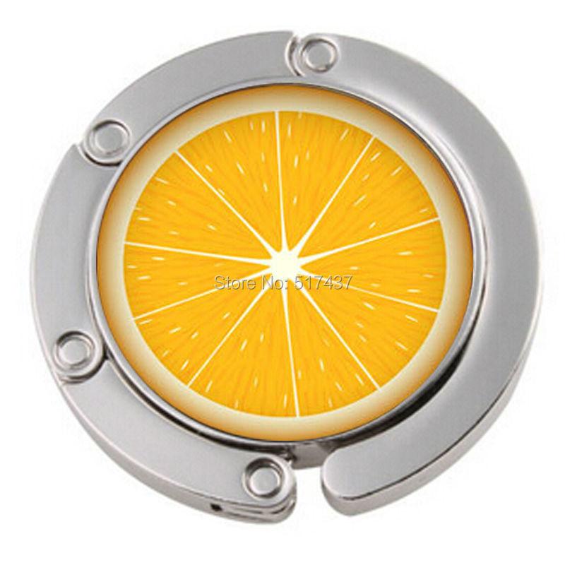 1pc Free Shipping Orange Fruit Purse Hook Metal Foldable Bag Hanger Purse Hooks For Tables(China (Mainland))