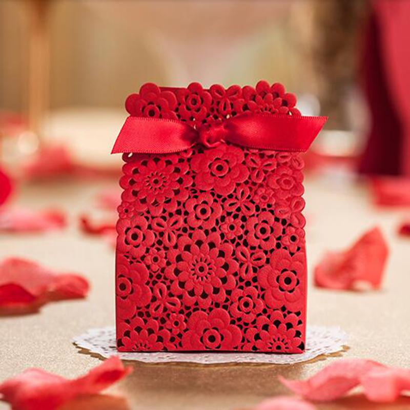100pcs/lot 9.5*4.2*7.5CM Red Cutout Wedding Candy Box Small Favor Box Party Favor Box Gift Box(China (Mainland))