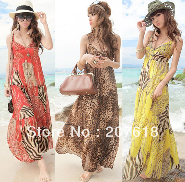 2013 Sexy Summer Women Leopard Bohemian Long Dress Lady Spaghetti Strap Chiffon Dress Maxi Dresses