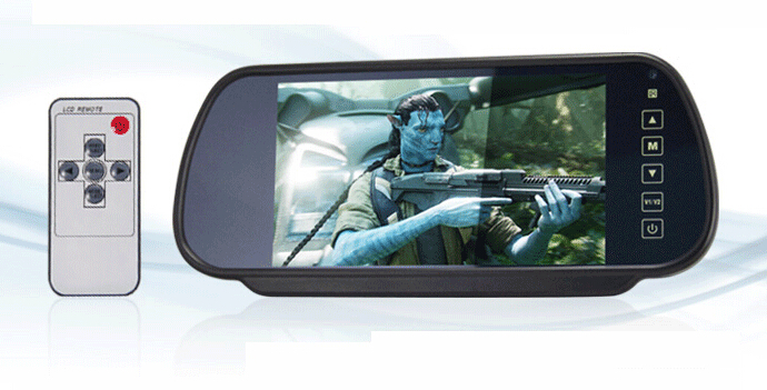 7 Inch Car Rear View Mirror Monitor TFT LCD Monitor Retail/Pc Free Shipping(China (Mainland))