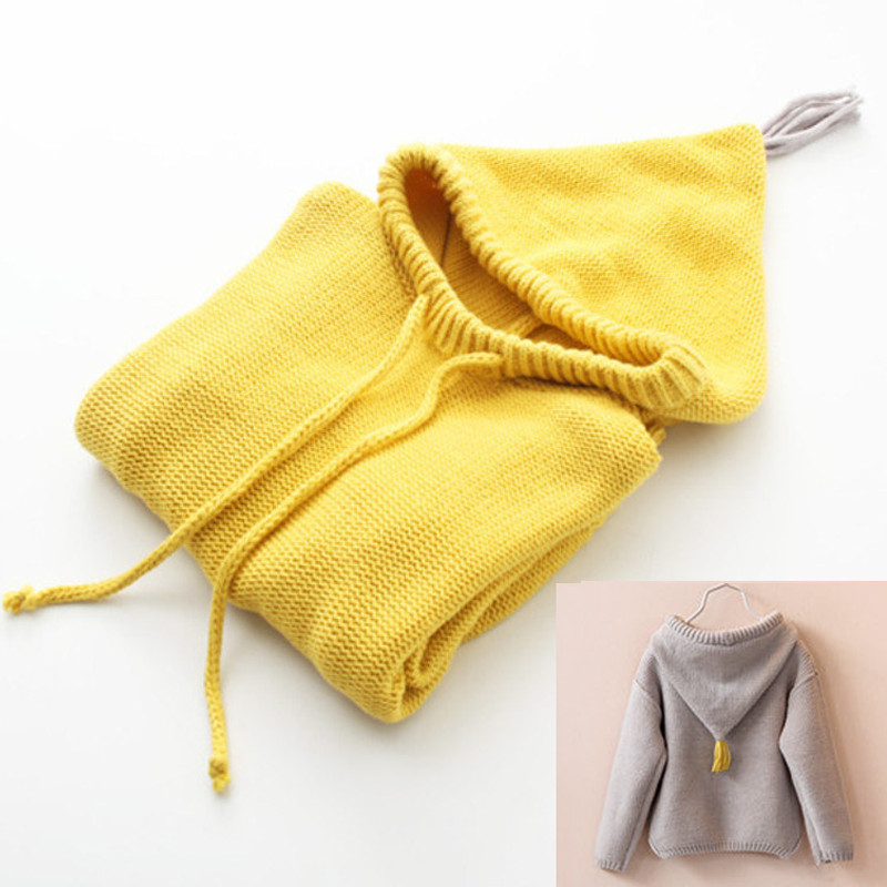 Child Boys Girls Winter Solid Tassels Sweater Casual Korean Fashion Hand Made Knit Pullover for 2-8 Years Kids Baby Yellow(China (Mainland))