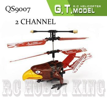 Free shipping QS 9007 2 channel Ruggedness remote control RC helicopter animal Eagle aircraft plane qs9007