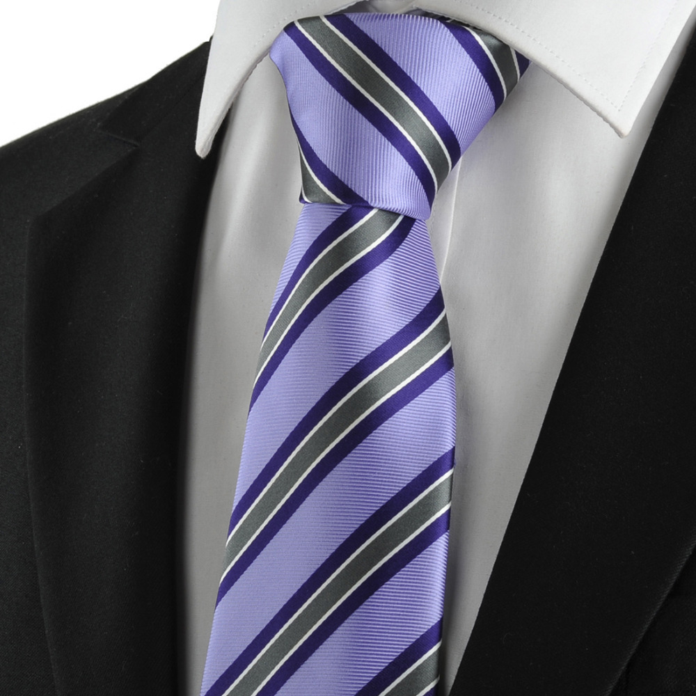 free shipping new striped grey purple mens tie suits