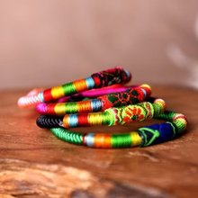 New Colorful Handmade Weave Ethnic Bracelets Fluorescence Candy colors Rope Bracelets Gift for women Fashion Fine Jewelry SL048D(China (Mainland))