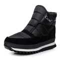 New snow men s rain boots for 2016 platform and waterproof warm shoes classic black color