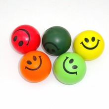 10pcs/lot Free Shipping Smiley PU Ocean Sponge Ball Pet Dog Toy Solid Foam Bouncing Balls Multicolor 6.3cm 16g(China (Mainland))