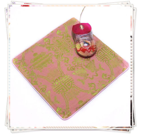 1 PCS 22*2cm Chinese Style Handmade Vintage Silk Brocade Rubber Pink Mouse Pads Mat(China (Mainland))