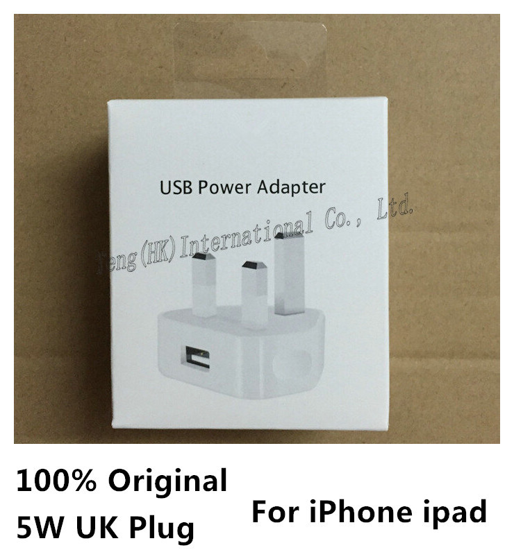 10 Sets/Lot Original UK Plug USB Power Adaptor Wall Charger for iPhone 6 5 For iPod With Retail Box free shipping