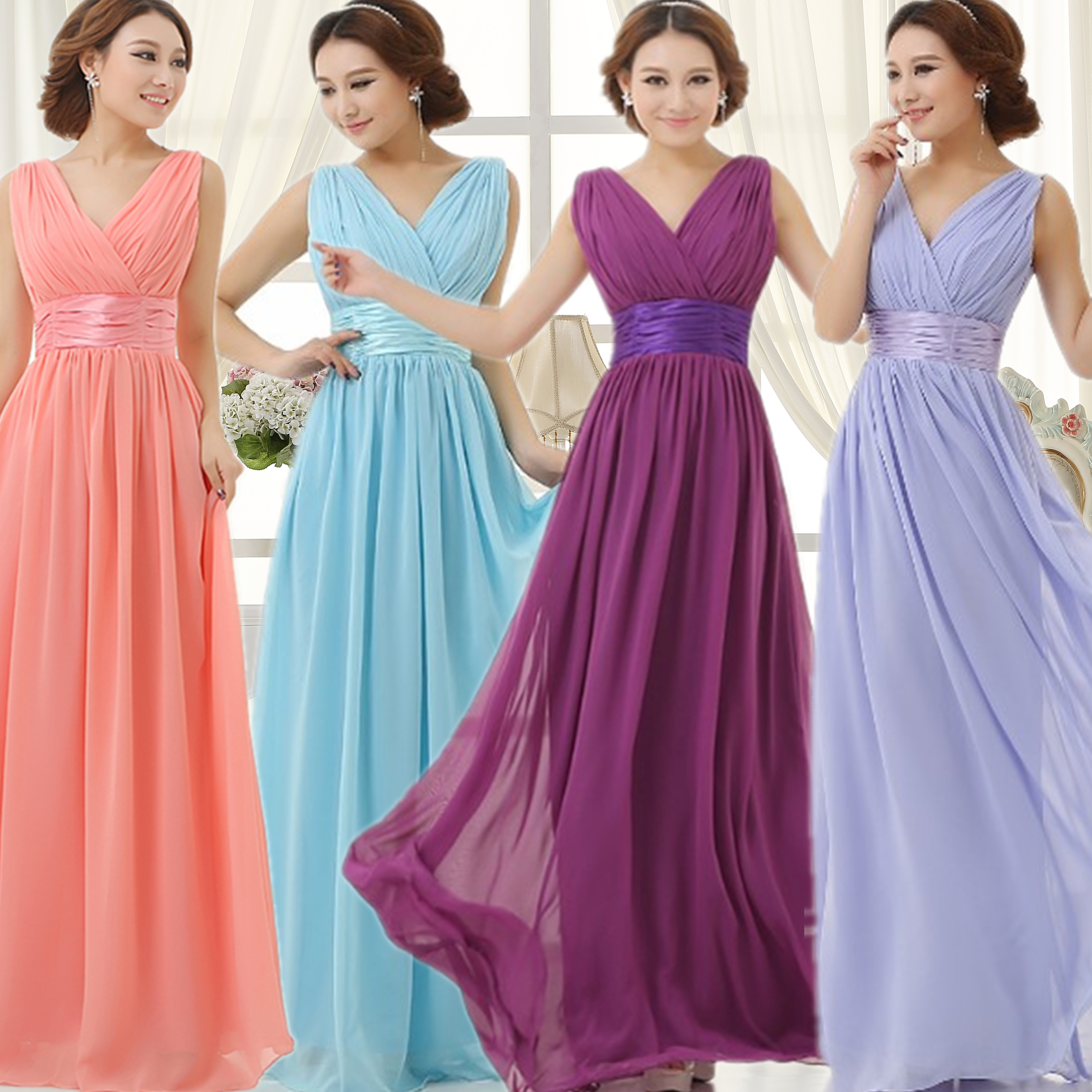 2015 cheap long yellow sky royal blue light purple pink for Light purple dresses for weddings