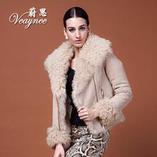 Lambs wool sheepskin winter jacket women leather jacket casual dress 2014 fur jacket desigual coat fur coat women female coats