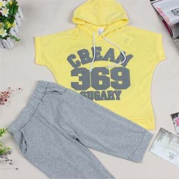 Hot New 2016 summer girls boys cream 369 children clothing set baby clothes short-sleeve T-shirt hoodies pant kids sport suit