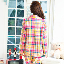 Song Riel casual plaid long sleeved cotton comfortable tracksuit Ms pajamas suit lapel cute smile rainbow
