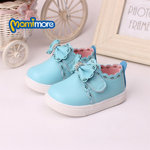 PU leather Bowknot Baby Casual Shoes 2016 New Baby Boy And Girls Shoes  Soft Bottom infant shoes(China (Mainland))